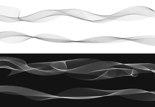 Set of black twist curved lines abstract wave isolated on white background, Vector Illustration