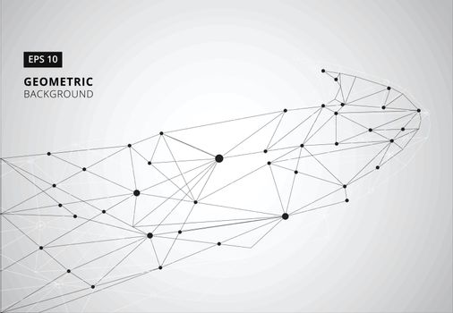 Black and White geometric graphic background. Perspective backdrop. Digital data visualization. Scientific cybernetic vector illustration