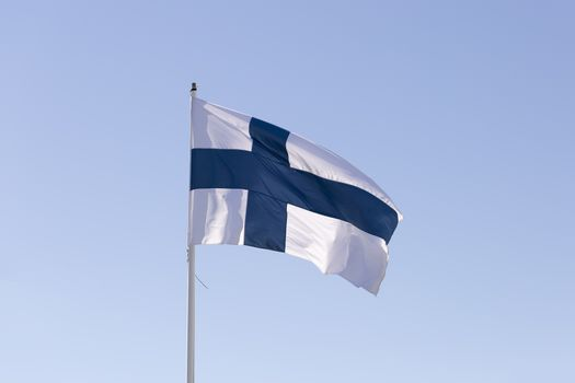 The Flag of Finland Waving in the Wind close up.