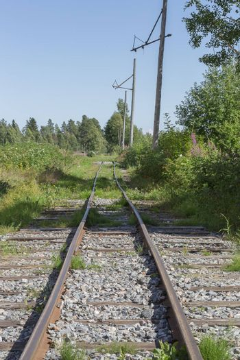 Old Railroad Tracks in nature with a blue sky.