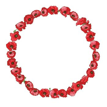 Circle floral frame of detailed hand drawn red poppies. Vector
