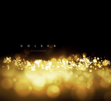 Gold background with bokeh. Vector illustration on dark background