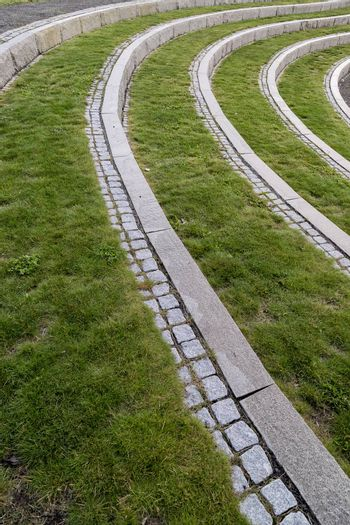 Curved Steps with Stone and Grass.