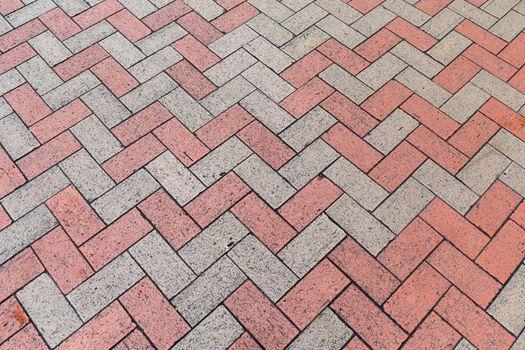 Red and Gray Bricks Pavement Pattern Background