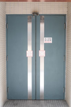Closed Double Door Building Entrance