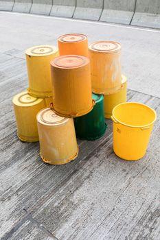 Bunch of Yellow Buckets at Street in Hong Kong