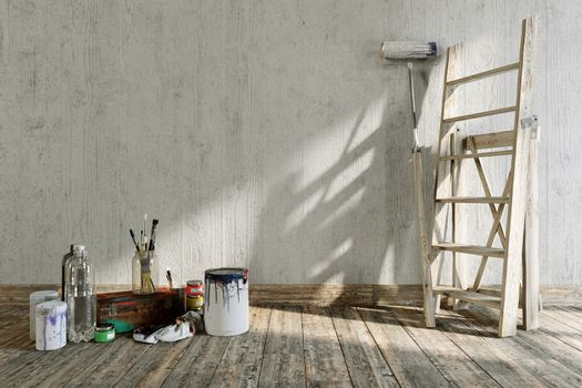 artistic home interior repairing concept composition with place for logo
