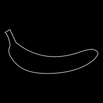 Banana white color path icon .