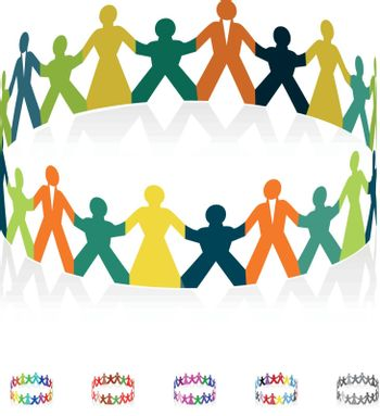 Paper men, women and children holding hands in the shape of a circle. Vector illustration