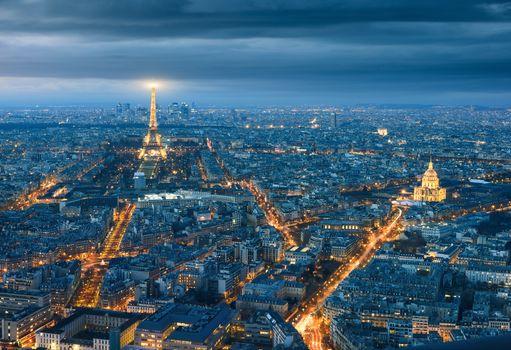 Aerial view of Paris at night