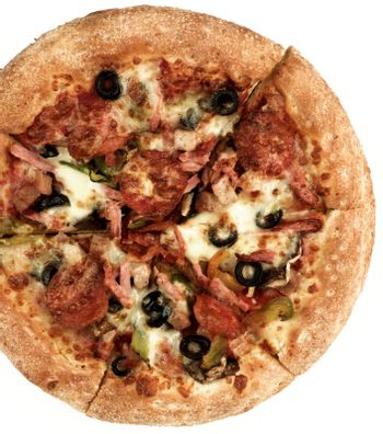 Freshly Baked Pepperoni Pizza with Black Olives, Pepperoni, Ham and Cheese Cross Section on White background