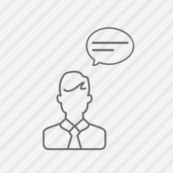 Speech bubble communication businessman line icons. Vector illustration