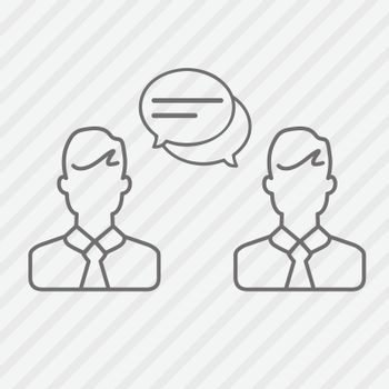Businessmen line icons. Speech bubble communication between two people. Vector illustration