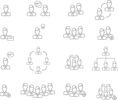 People line icon vector illustration set