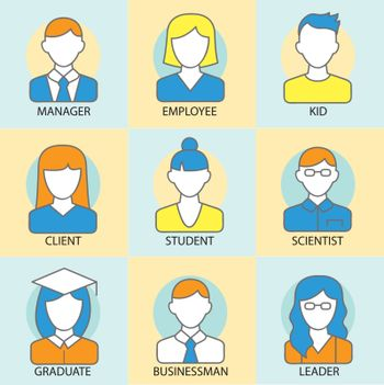 Character avatar people color lines vector illustration