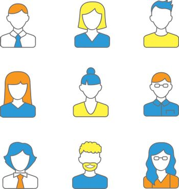 People line icons vector illustration. Simple style avatar and people characters