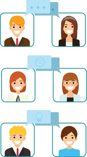 Vector set of business people flat avatar talking to each other