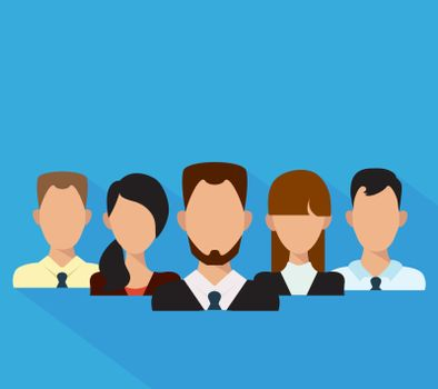 Flat business people in a team. Vector illustration.