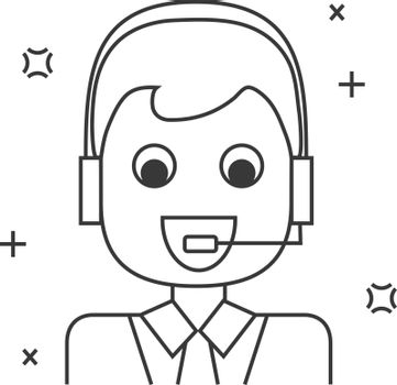 Character operator, marketing person line icon. Businessman talking to client. Vector illustration