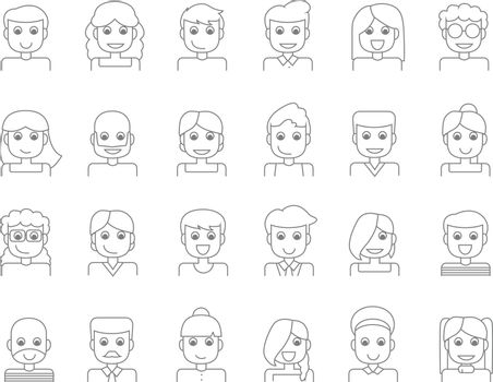 Character Avatar or People line icons. Vector illusration.