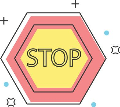 Stop sign construction, engineering, architecture, interior design color line icons. Vector illustration