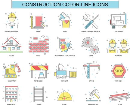 Set of construction, engineering, architecture, interior design color line icons. Vector illustration