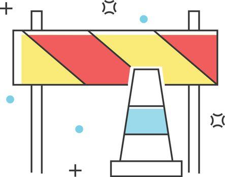 Road block construction, engineering, architecture, interior design color line icons. Vector illustration