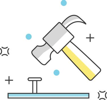 Hammer and nail Construction, Engineering, Architecture or interior design line icons. Vector illustration