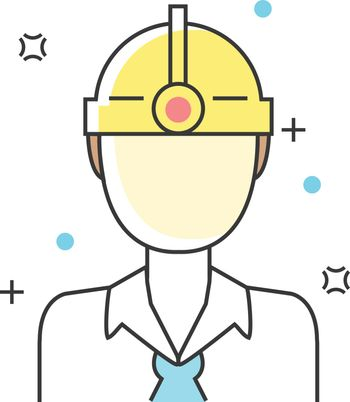 Construction, Engineer or Contracter Character Avatar line icons. Vector illustration