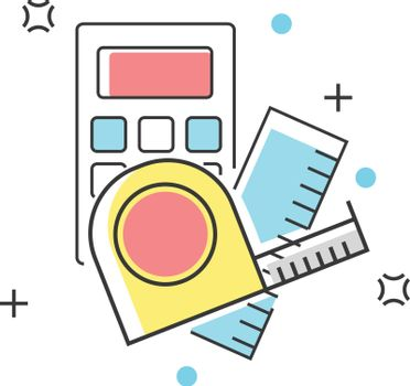 Calculator and measuring equipment construction color line icon. Buildings, engineering, property, architecture and materials vector illustration