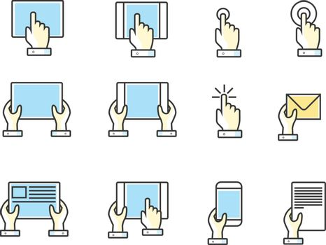 Fingers and hands touch screen hand color line web icons. Vector illustration