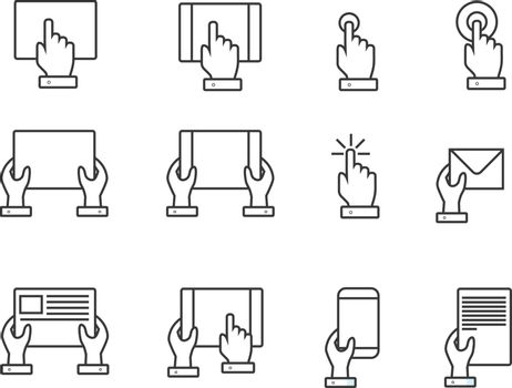 Fingers and hands touch screen hand line web icons. Vector illustration