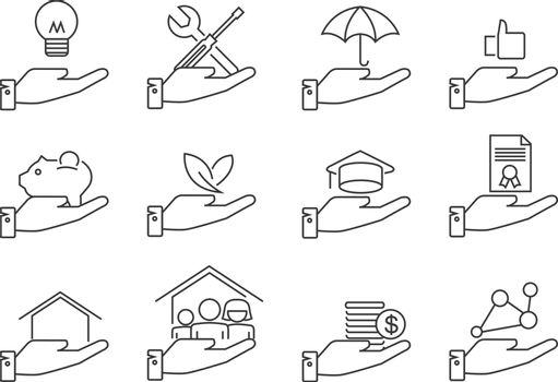 Business concept hand with items line icons. Vector illustration