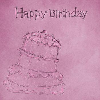 Una torta disegnata su sfondo colorato con la scrittura di compleanno