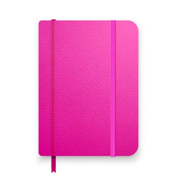 Realistic pink notebook with elastic band and bookmark. Top view diary template. Closed diary. Vector notepad mockup.