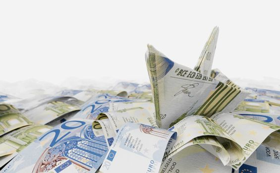 Ship from euro paper in the money sea concept composition photo