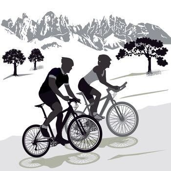 A couple on the Mountainbike Illustration