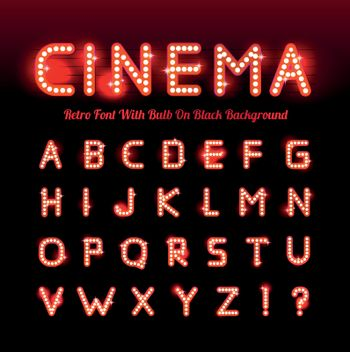 Retro cinema font. Vector illustration on black background. Can be used for christmas, happy new year, happy birthday and more.