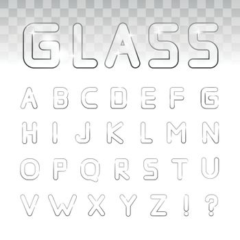 Vector glass font on a transparency background. Can be used for window dressing, goods made of glass, posters, booklets, print production and Web design