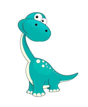 A small dinosaur on a white background. Cute cartoon dinosaur.