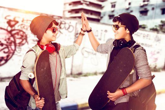 Happy teen boys outdoors