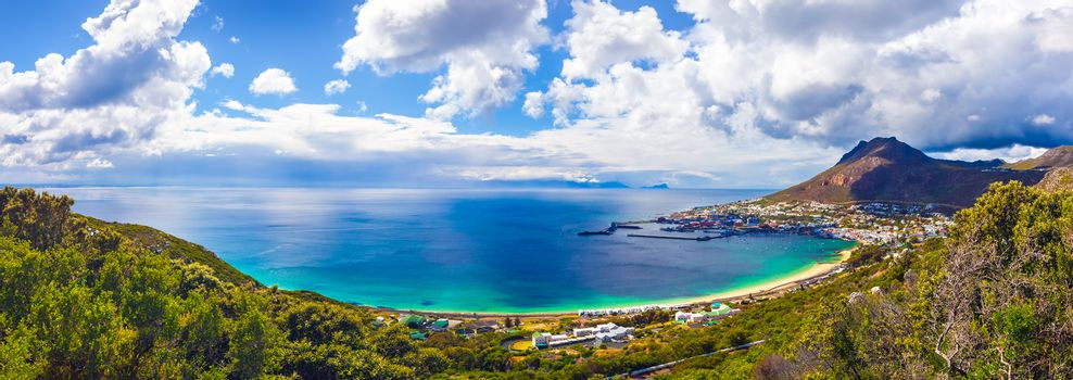 Beautiful landscape, amazing seascape with gorgeous mountains around it, panoramic view of Atlantic Ocean, beauty of wild nature, travel to South Africa