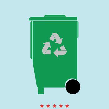 Refuse bin with arrows utilization it is color icon .
