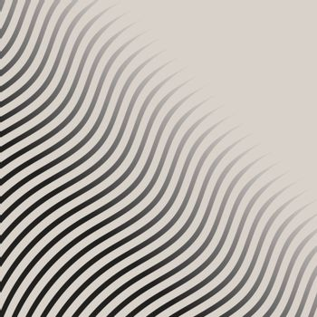 Abstract monochrome wave lines pattern striped halftone vector background