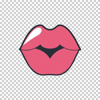 Lips kiss. Vector patch, sticker isolated on white. Cool sexy red kissed. Selphie cartoon Sign for print, in comics, Fashion, pop art, retro style 80-s 90s