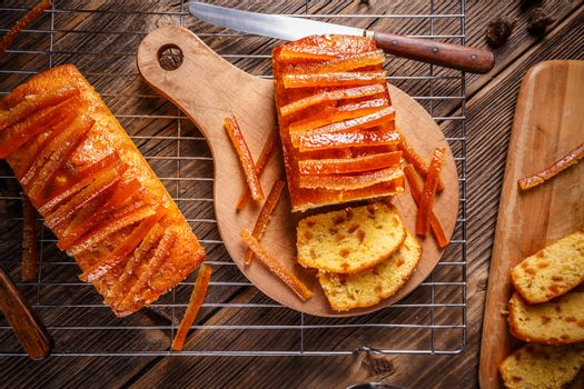 Cake with candied orange peel