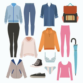Lady fashion set of autumn season outfit. Illustration stylish and trendy clothing. Coat, pants, jeans, blouse, shirt, shoes, pants, sweatshirt, sneakers.