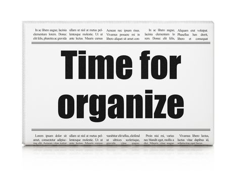 Timeline concept: newspaper headline Time For Organize