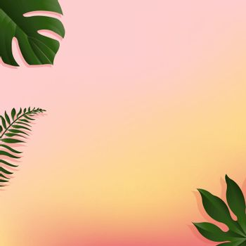 Summer Banner With Tropical Leaf, Vector Illustration, With Gradient Mesh