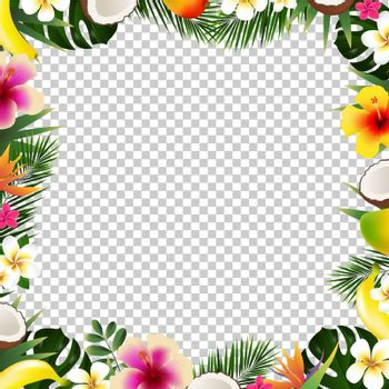 Tropical Frame Isolated, With Gradient Mesh, Vector Illustration